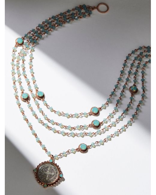 Free People | Metallic San Benito Opal Medallion Necklace | Lyst