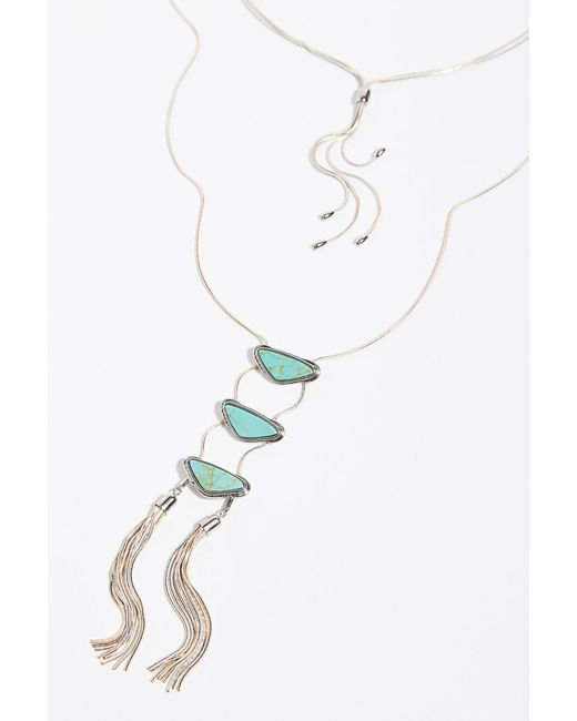 Free People - Gray Shimmer Ladder Necklace - Lyst
