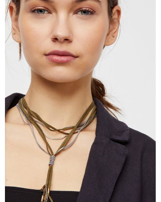 Free People - Green Gilded Chain Bolo Necklace - Lyst