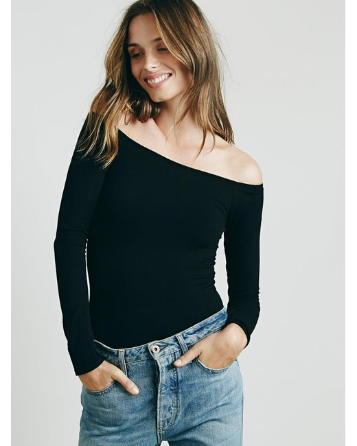 Free People | Black Off The Shoulder Solid Top | Lyst
