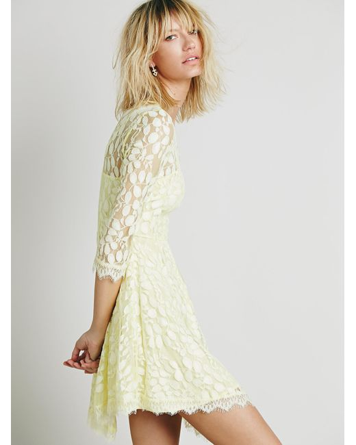 Free People | Yellow Floral Mesh Lace Dress | Lyst