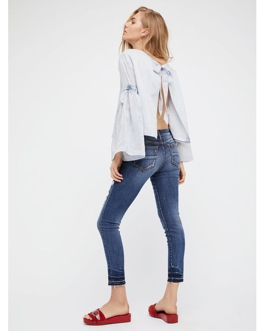 Free People Marilyn Embroidered Skinny Jeans In Blue  Lyst