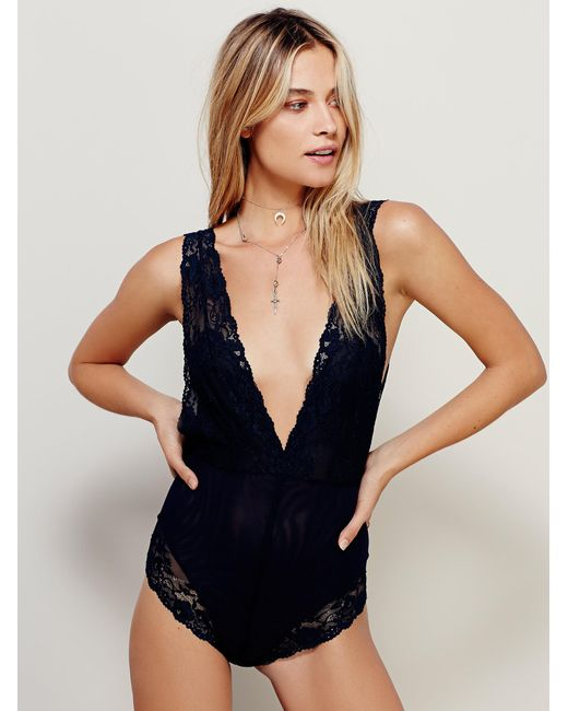 Free People | Blue Midnight Hours Bodysuit | Lyst