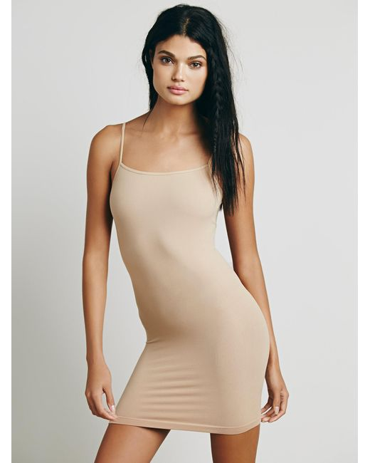 Free People | Natural Seamless Low Back Mini Slip | Lyst