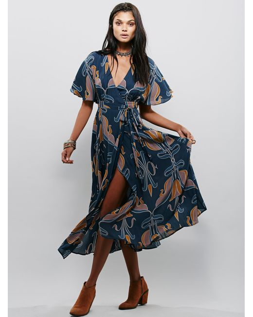 Free People | Blue Sweet Romance Wrap Maxi | Lyst