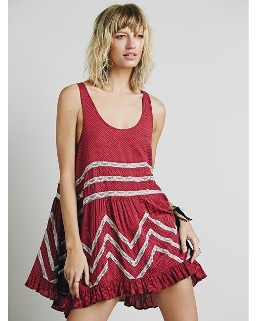 Free People | Purple Voile And Lace Trapeze Slip | Lyst