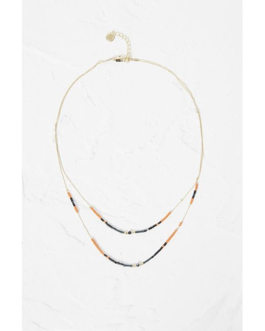 French Connection - Metallic Beach Beaded Double Necklace - Lyst