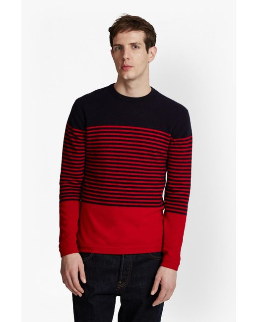 French Connection | Red Turner Stripe Knit Sweater for Men | Lyst