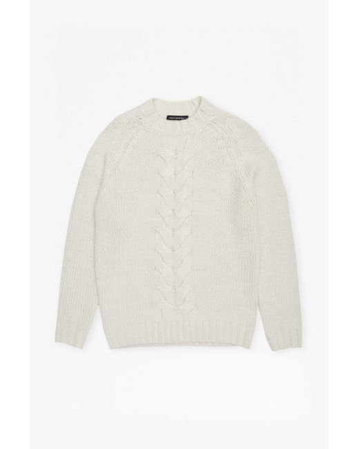 French Connection | White Ridge Cable Knit Jumper for Men | Lyst