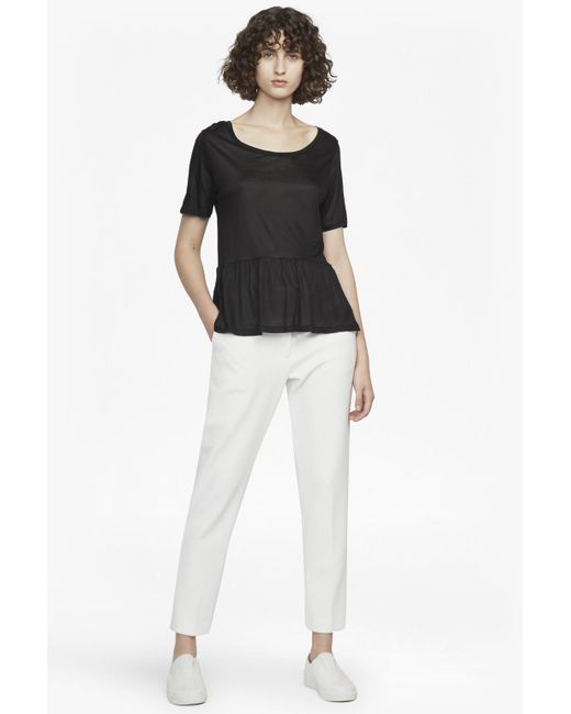 French Connection - Black Miro Mercerised Peplum Jersey Top - Lyst