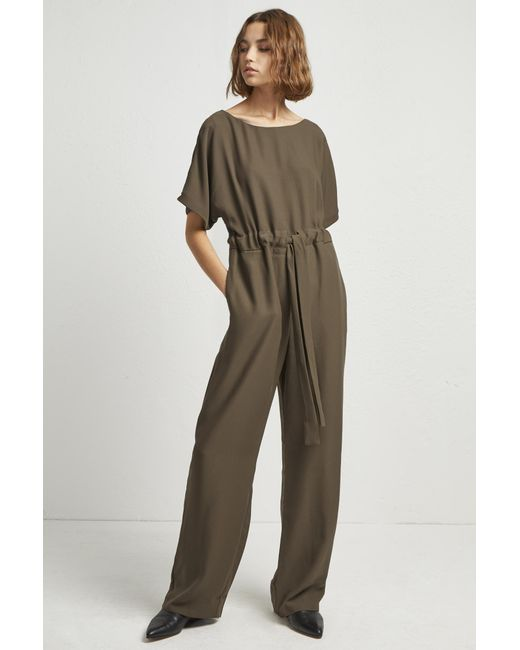839be25c82fc ... French Connection - Green Patras Crepe Long Jumpsuit - Lyst ...