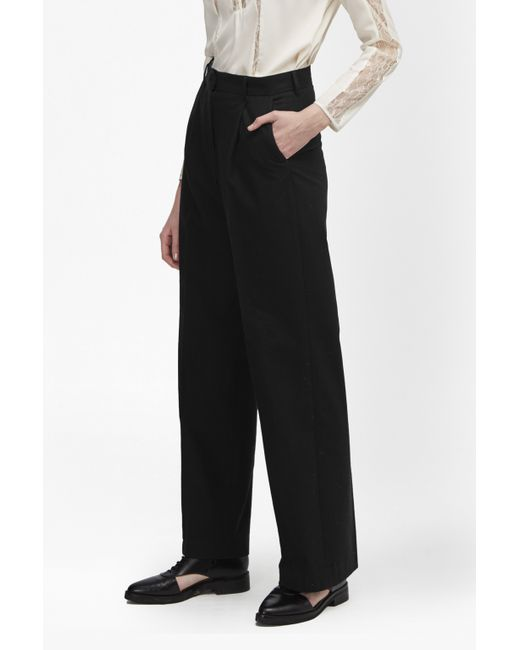 French Connection | Black Winter Flannel Wide Leg Trousers | Lyst