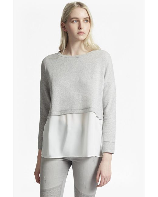 French Connection | Gray Lerato Jersey Mix Oversized Jumper | Lyst