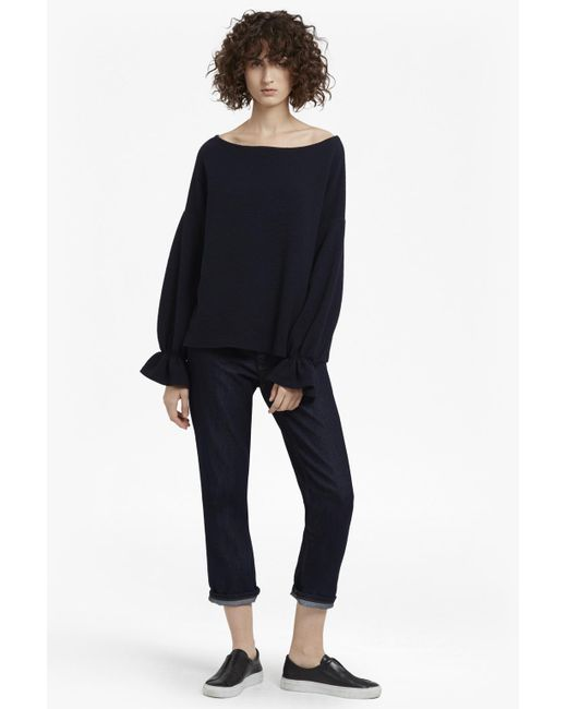 French Connection | Blue Ellen Fluted Sleeve Textured Jumper | Lyst