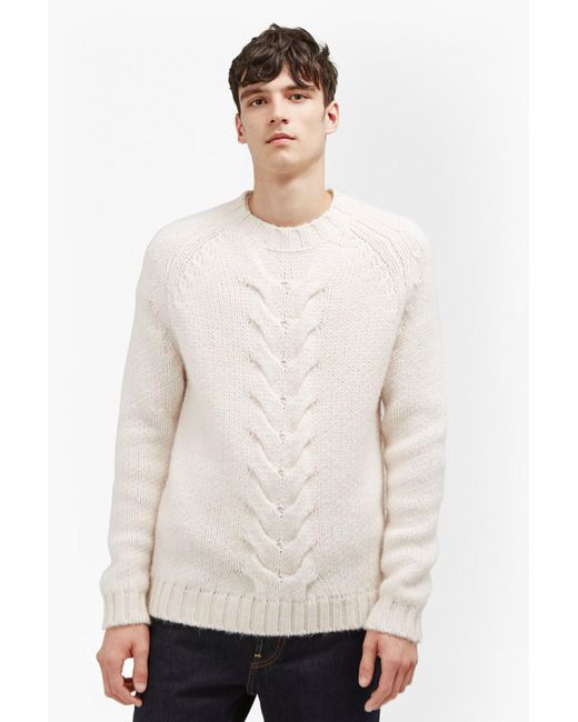 French Connection   White Ridge Cable Knit Jumper for Men   Lyst