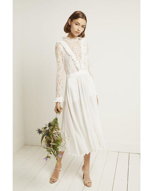 French Connection White Clandre Vintage Lace Jumpsuit
