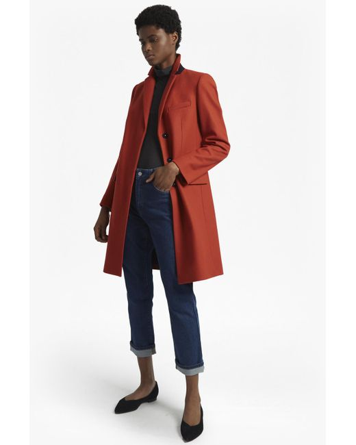 French Connection | Red Platform Felt Long Sleeved Smart Fit Coat | Lyst