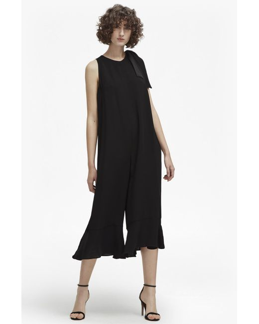 French Connection | Black Hiva Crepe Flared Jumpsuit | Lyst