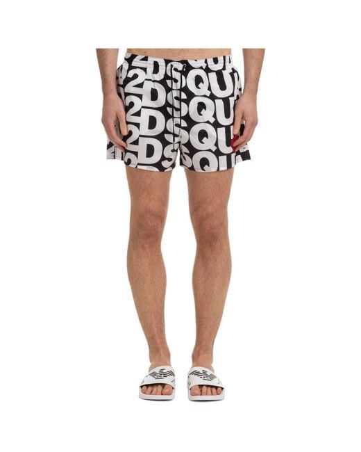 DSquared² Black Trunks Swimsuit Multi Logo for men