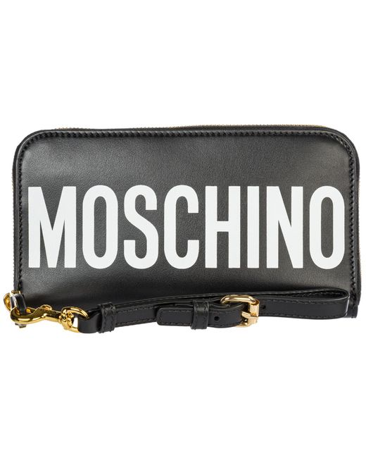 Moschino Black Women's Wallet Leather Coin Case Holder Purse Card Bifold