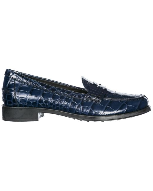 Tod's Blue Women's Leather Loafers Moccasins