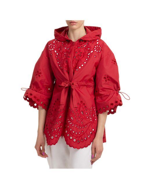 Giubbotto giubbino donna cappuccio di RED Valentino in Red
