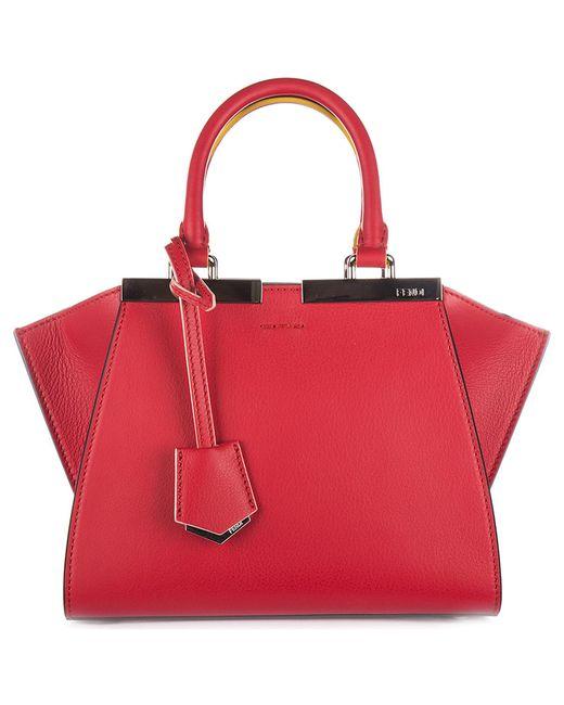 Fendi - Red Leather Handbag Shopping Bag Purse Mini 3jours - Lyst