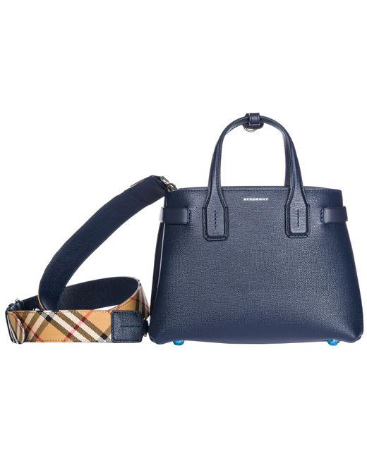 Burberry - Blue Leather Handbag Shopping Bag Purse The Banner - Lyst