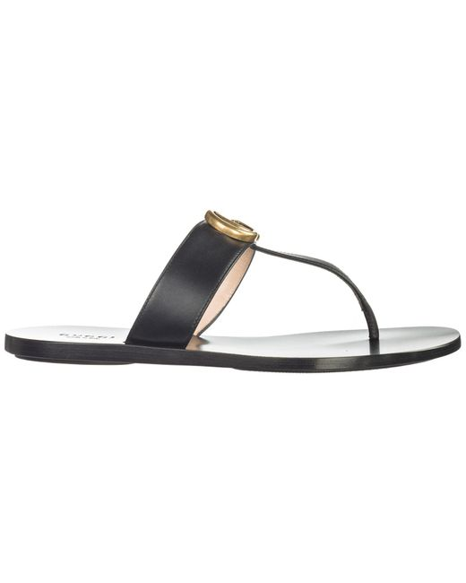 Gucci Marmont Leather Thong Sandal in