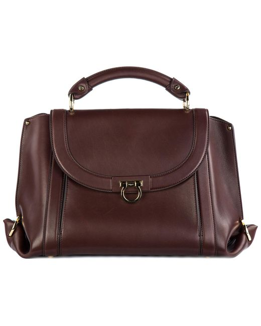 Ferragamo - Brown Leather Handbag Shopping Bag Purse Soft Sofia - Lyst