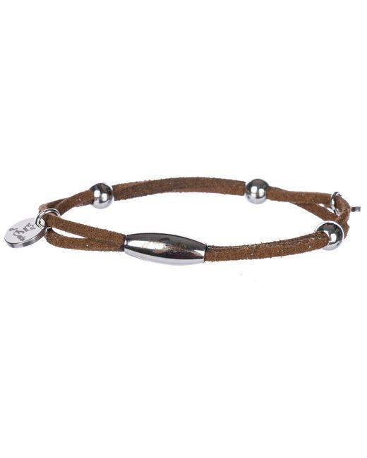 d''Este Brown Men's Leather Bracelet Alcantara for men