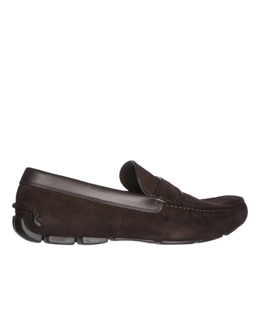 PRADA MEN'S SUEDE LOAFERS MOCCASINS NEW BROWN 449