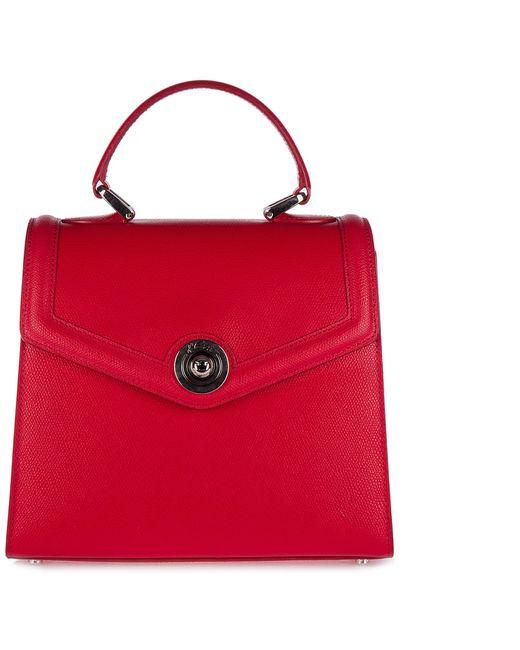 Borsa donna a mano shopping in pelle monaco di d''Este in Red
