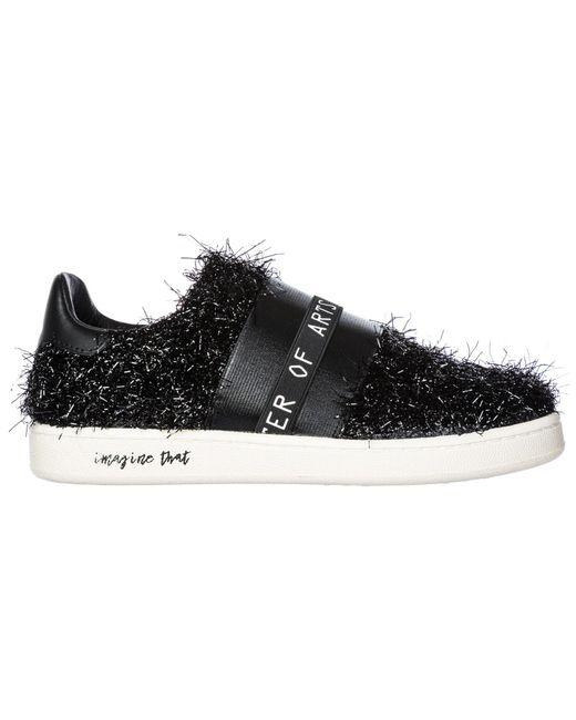 MOA Black Women's Leather Slip On Sneakers