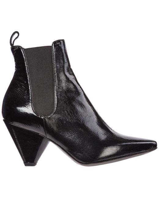 Premiata Black Women's Leather Heel Ankle Boots Booties