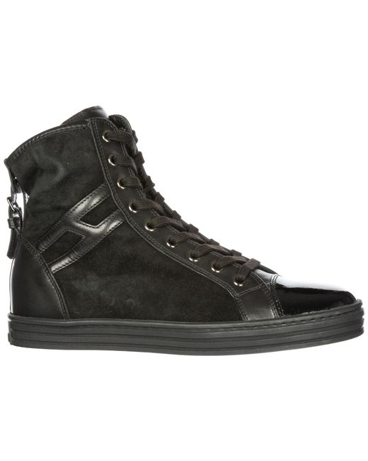 cfb00bf5c35 ... Hogan Rebel - Black Shoes High Top Suede Trainers Sneakers R182 - Lyst  ...