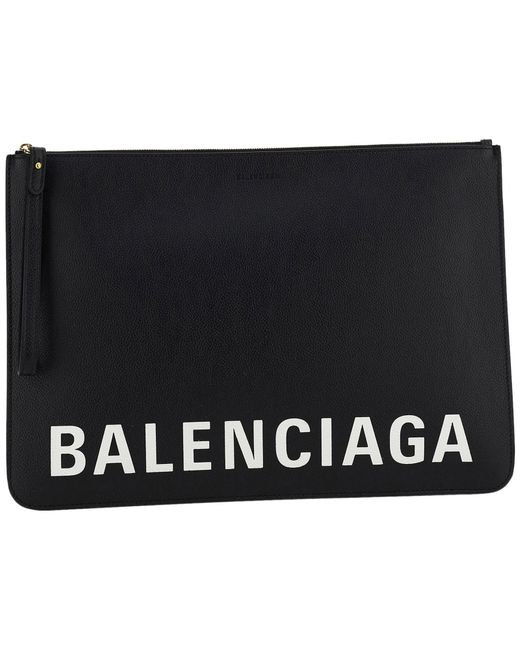 Balenciaga Black Women's Leather Clutch Handbag Bag Purse
