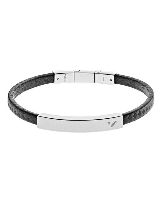 Emporio Armani Armband Leder in Black für Herren
