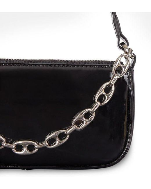 Mini sac pochette baguette Rachel cuir vernis By Far en coloris Black
