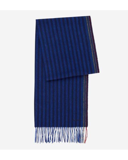 Echarpe homme teneur cachemire et laine à rayures et franges Paul Smith pour homme en coloris Blue