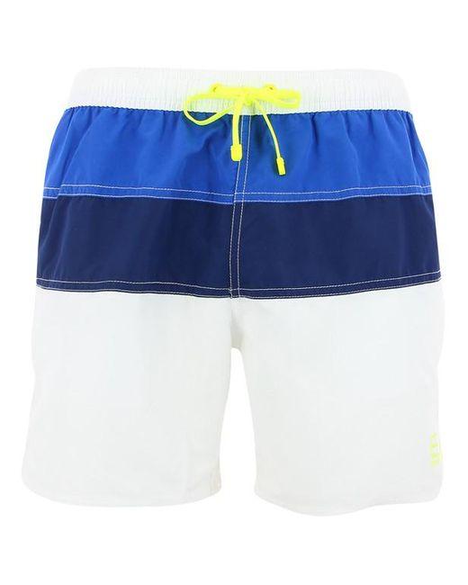 Short de bain mi-long larges rayures Armani pour homme en coloris Blue