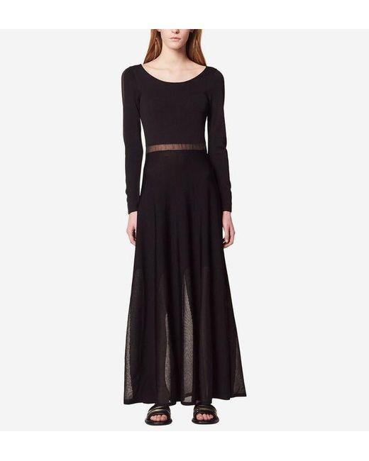 Robe longue avec transparence Sandro en coloris Black