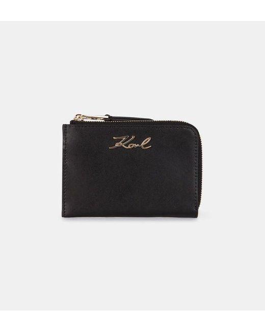 Porte-cartes K/Signature zippé cuir Karl Lagerfeld en coloris Black