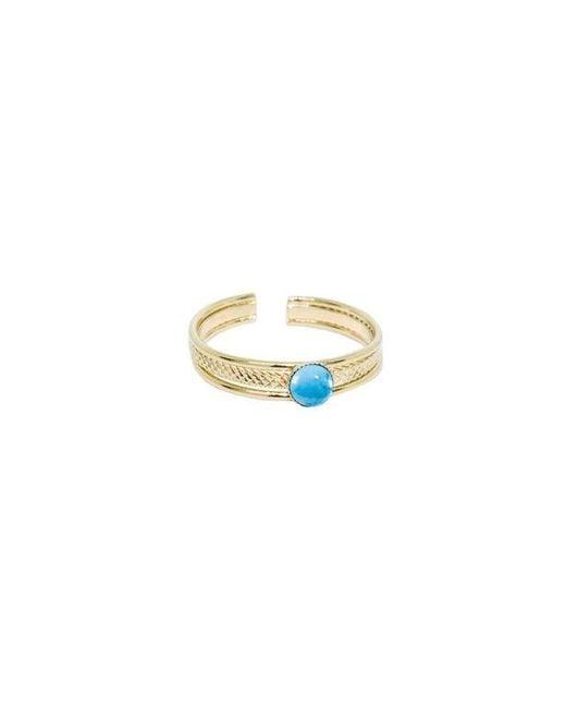 Bague ajustable pierres naturelles Turquoise raffinée dorée à l'or fin 24K GAUFREE Nilai en coloris Multicolor
