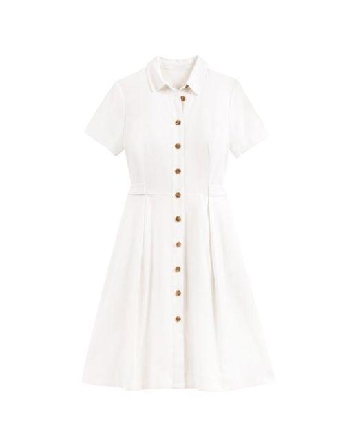 Lin ChemiseManches MélangéFemme Coloris Robe De Blanc Courtes drthsQ