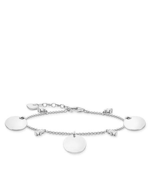 Bracelet avec trois médailles et pierres blanches argent Argent sterling 925 Thomas Sabo en coloris Metallic