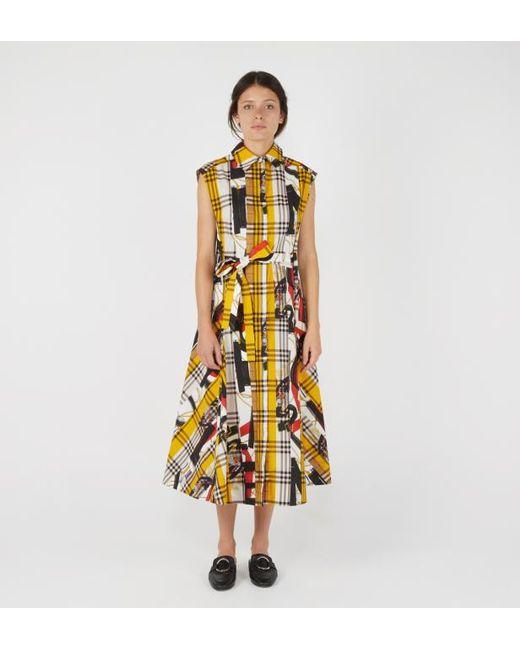 11e26250e7ba Burberry - Multicolor Robe chemise femme à motif check avec imprimé écharpes  d archive ...