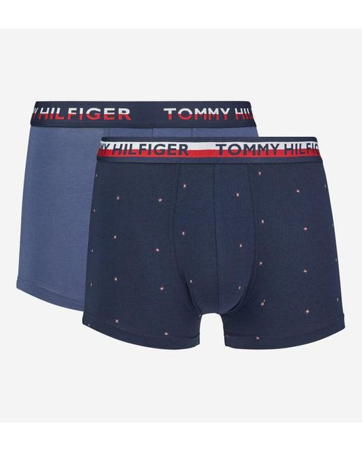 Lot de 2 boxers uni et à imprimé Tommy Hilfiger pour homme en coloris Blue