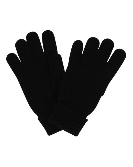 Gants unis en laine mérinos Lacoste pour homme en coloris Black