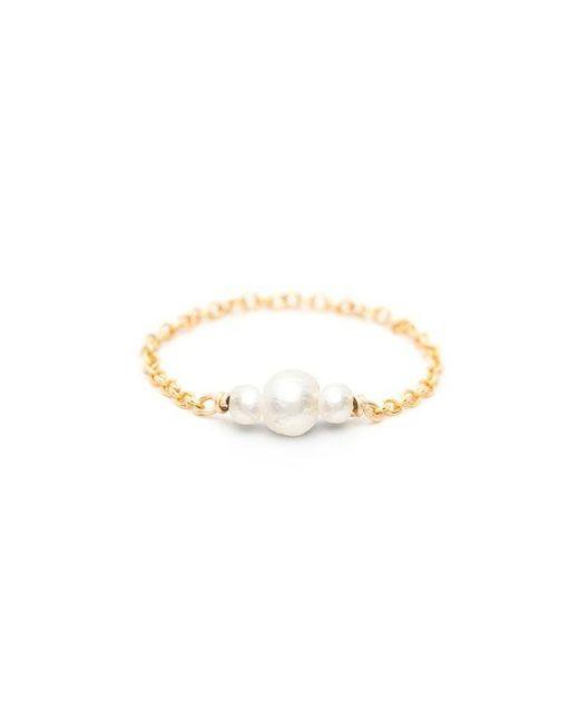 Bague chaînette gold filled perles de culture Chance YAY Paris en coloris White